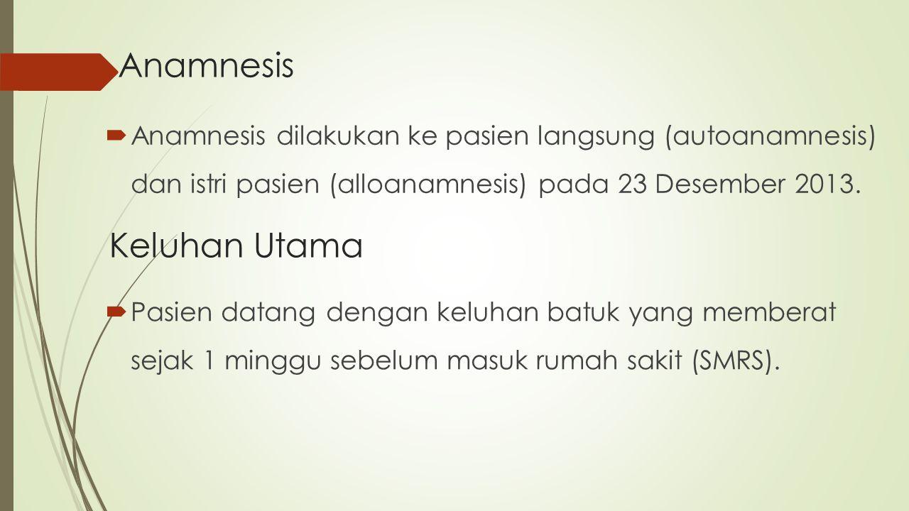  Anamnesis dilakukan ke pasien langsung (autoanamnesis) dan istri pasien (alloanamnesis) pada 23 Desember 2013. Anamnesis Keluhan Utama  Pasien data