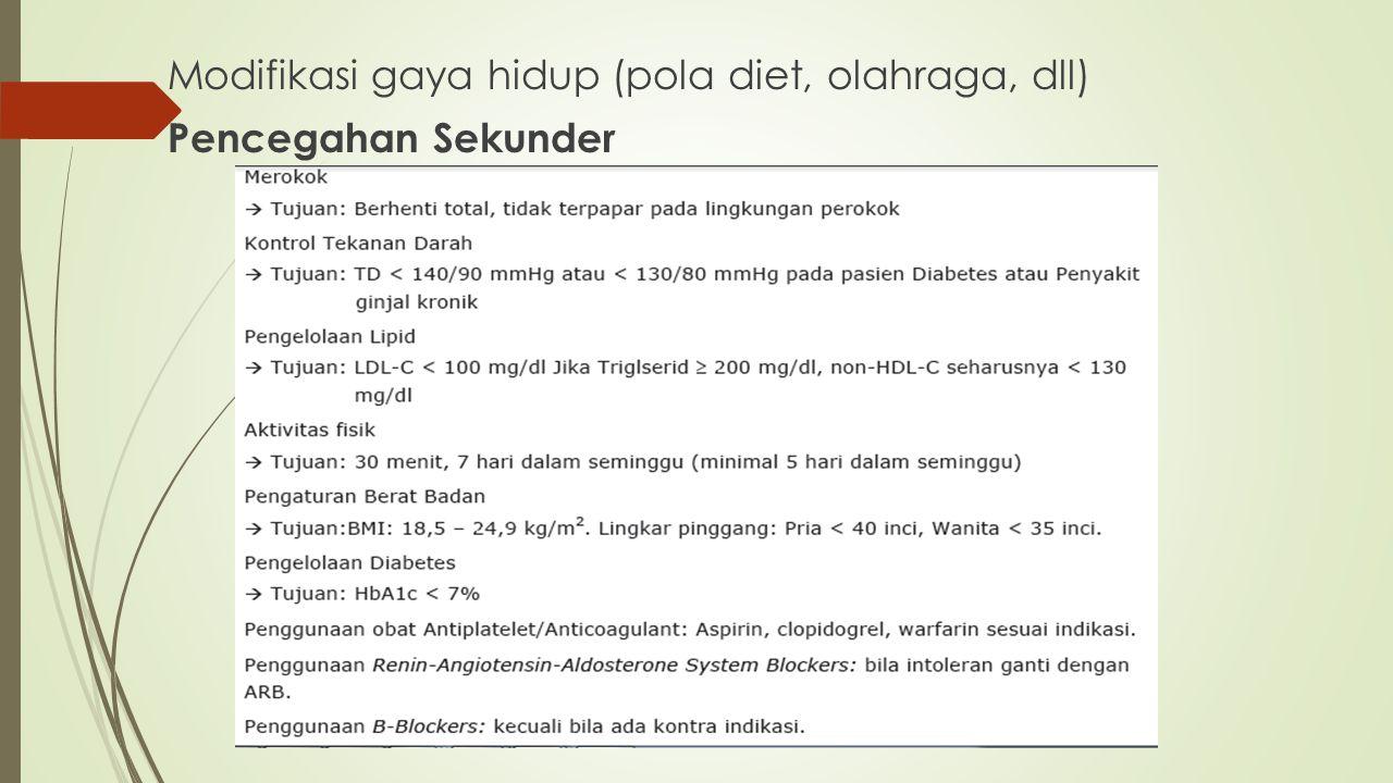 Modifikasi gaya hidup (pola diet, olahraga, dll) Pencegahan Sekunder