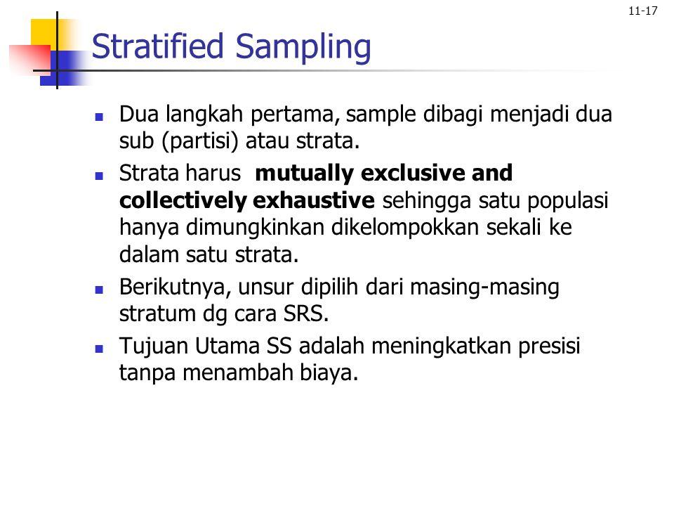 11-17 Stratified Sampling Dua langkah pertama, sample dibagi menjadi dua sub (partisi) atau strata. Strata harus mutually exclusive and collectively e
