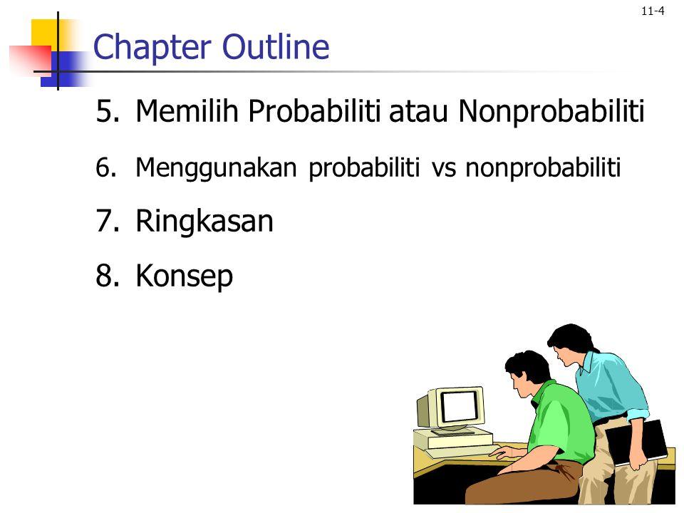 11-4 Chapter Outline 5.Memilih Probabiliti atau Nonprobabiliti 6.Menggunakan probabiliti vs nonprobabiliti 7.Ringkasan 8.Konsep