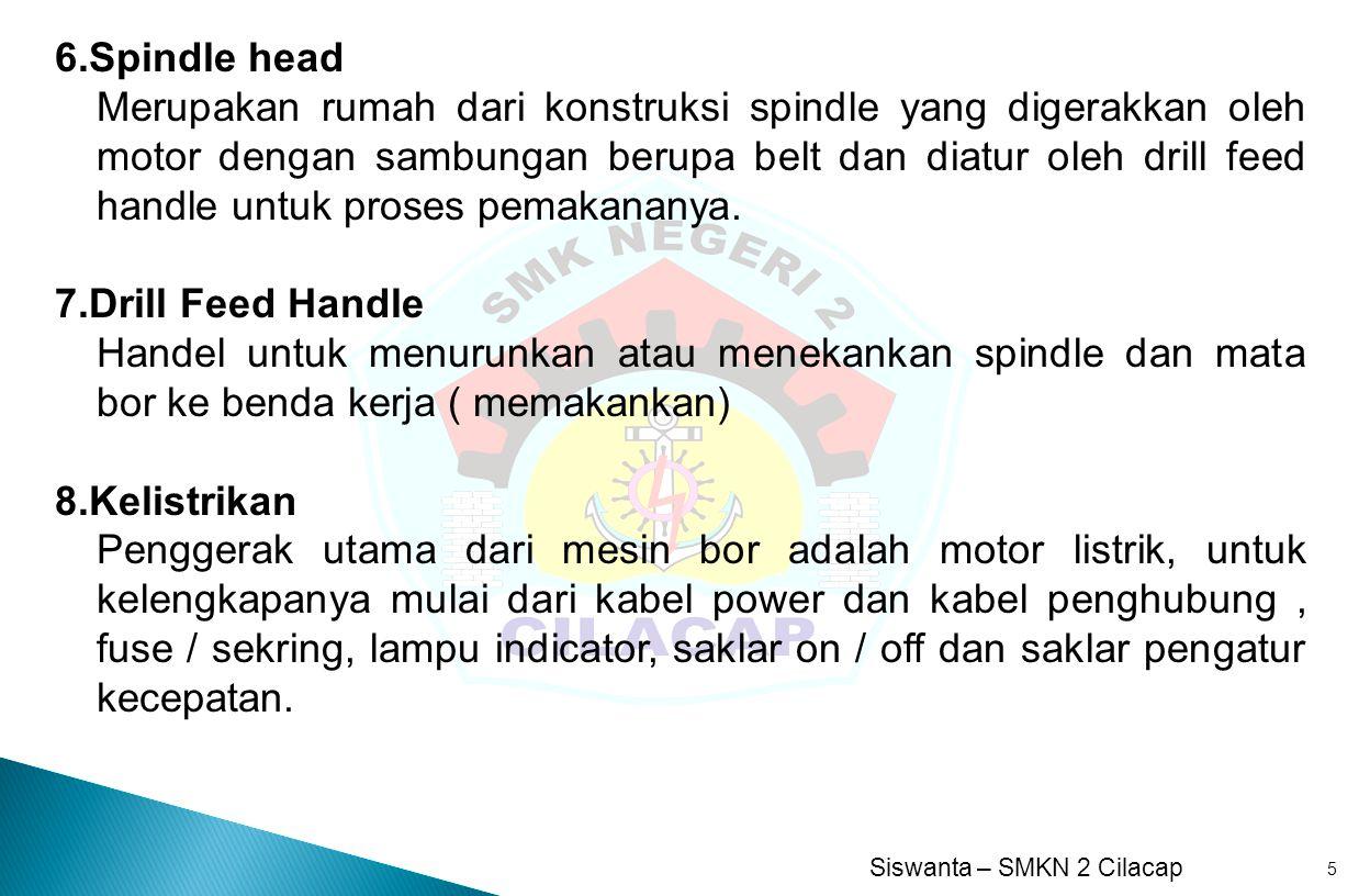 Siswanta – SMKN 2 Cilacap 6 1.Base (Dudukan ) 2.Column (Tiang) 3.Table (Meja) 4.Drill (Mata Bor) 5.Spindle 6.Spindle head 7.Drill Feed Handle 8.Kelistrikan
