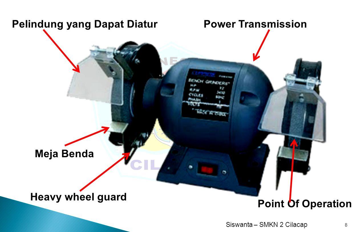 Siswanta – SMKN 2 Cilacap 8 Power Transmission Point Of Operation Pelindung yang Dapat Diatur Heavy wheel guard Meja Benda