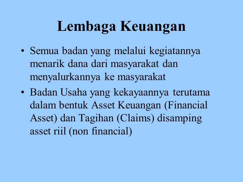 Lembaga Keuangan Semua badan yang melalui kegiatannya menarik dana dari masyarakat dan menyalurkannya ke masyarakat Badan Usaha yang kekayaannya terutama dalam bentuk Asset Keuangan (Financial Asset) dan Tagihan (Claims) disamping asset riil (non financial)