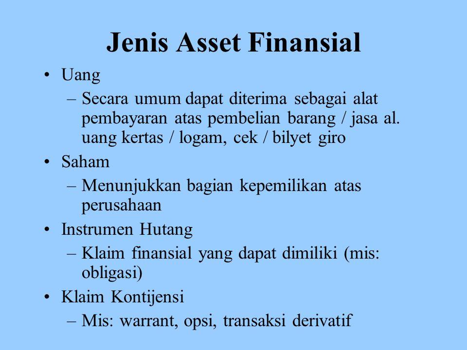 Jenis Asset Finansial Uang –Secara umum dapat diterima sebagai alat pembayaran atas pembelian barang / jasa al.