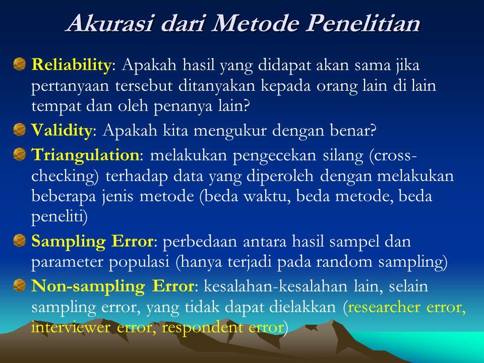 Akurasi dari Metode Penelitian Reliability: Apakah hasil yang didapat akan sama jika pertanyaan tersebut ditanyakan kepada orang lain di lain tempat d