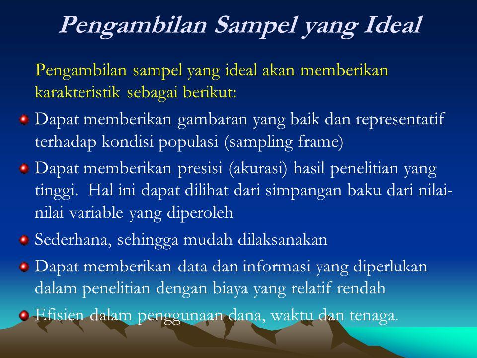 Pengambilan Sampel yang Ideal Pengambilan sampel yang ideal akan memberikan karakteristik sebagai berikut: Dapat memberikan gambaran yang baik dan rep