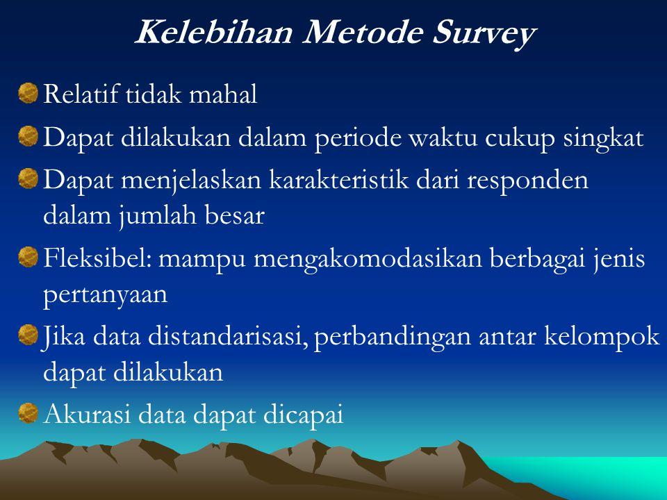 Kelebihan Metode Survey Relatif tidak mahal Dapat dilakukan dalam periode waktu cukup singkat Dapat menjelaskan karakteristik dari responden dalam jum