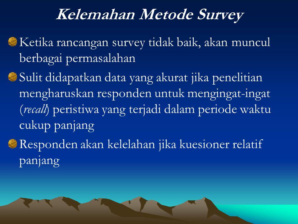 Kelemahan Metode Survey Ketika rancangan survey tidak baik, akan muncul berbagai permasalahan Sulit didapatkan data yang akurat jika penelitian mengha