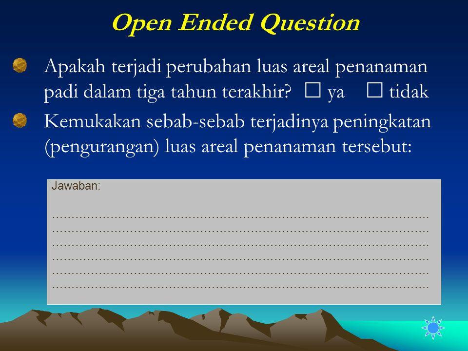 Open Ended Question Apakah terjadi perubahan luas areal penanaman padi dalam tiga tahun terakhir?  ya  tidak Kemukakan sebab-sebab terjadinya pening