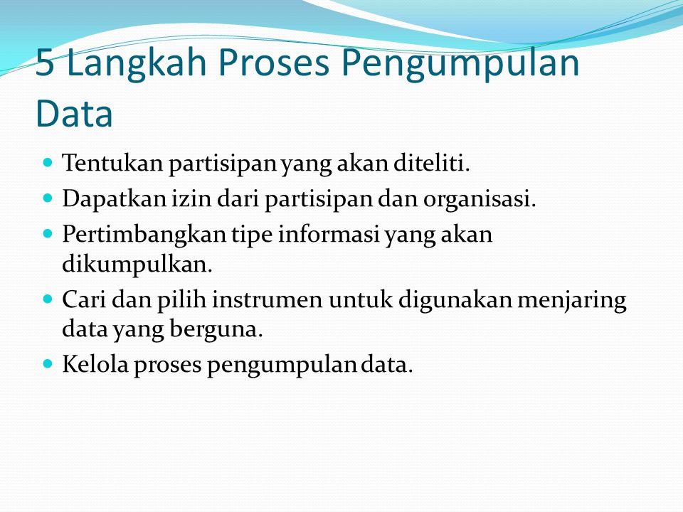 5 Langkah Proses Pengumpulan Data Tentukan partisipan yang akan diteliti. Dapatkan izin dari partisipan dan organisasi. Pertimbangkan tipe informasi y