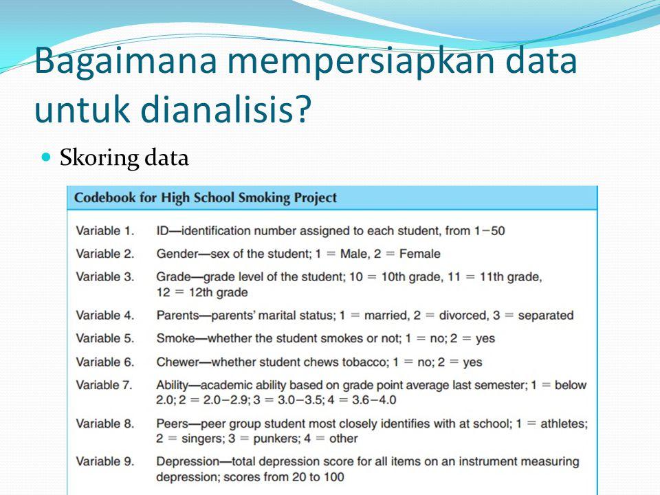 Bagaimana mempersiapkan data untuk dianalisis? Skoring data