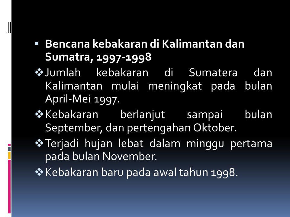  Bencana kebakaran di Kalimantan dan Sumatra, 1997-1998  Jumlah kebakaran di Sumatera dan Kalimantan mulai meningkat pada bulan April-Mei 1997.  Ke