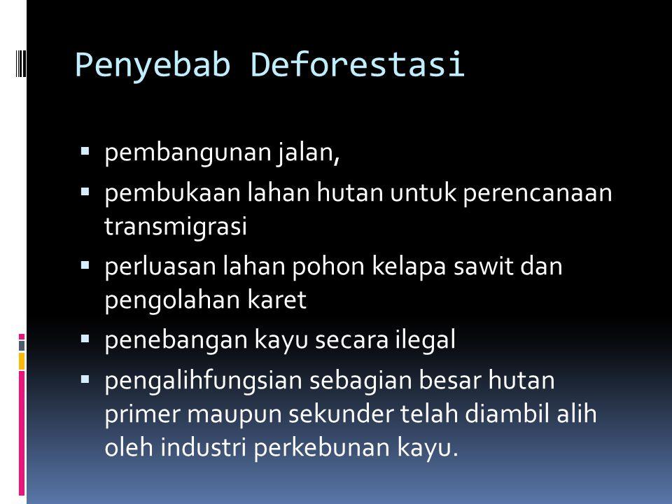 Penyebab Deforestasi  pembangunan jalan,  pembukaan lahan hutan untuk perencanaan transmigrasi  perluasan lahan pohon kelapa sawit dan pengolahan k