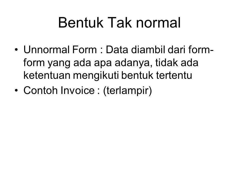 Bentuk Tak normal Unnormal Form : Data diambil dari form- form yang ada apa adanya, tidak ada ketentuan mengikuti bentuk tertentu Contoh Invoice : (te