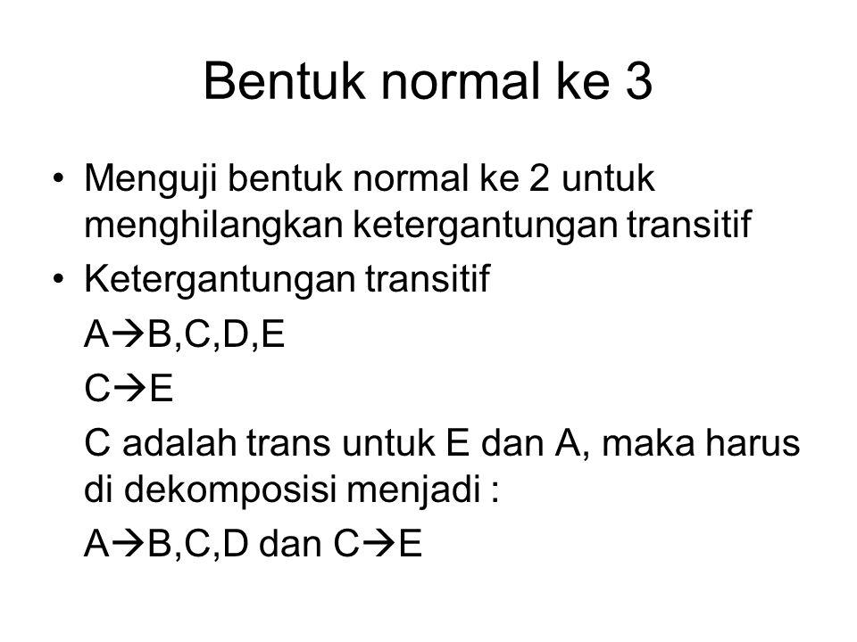 Bentuk normal ke 3 Menguji bentuk normal ke 2 untuk menghilangkan ketergantungan transitif Ketergantungan transitif A  B,C,D,E C  E C adalah trans u