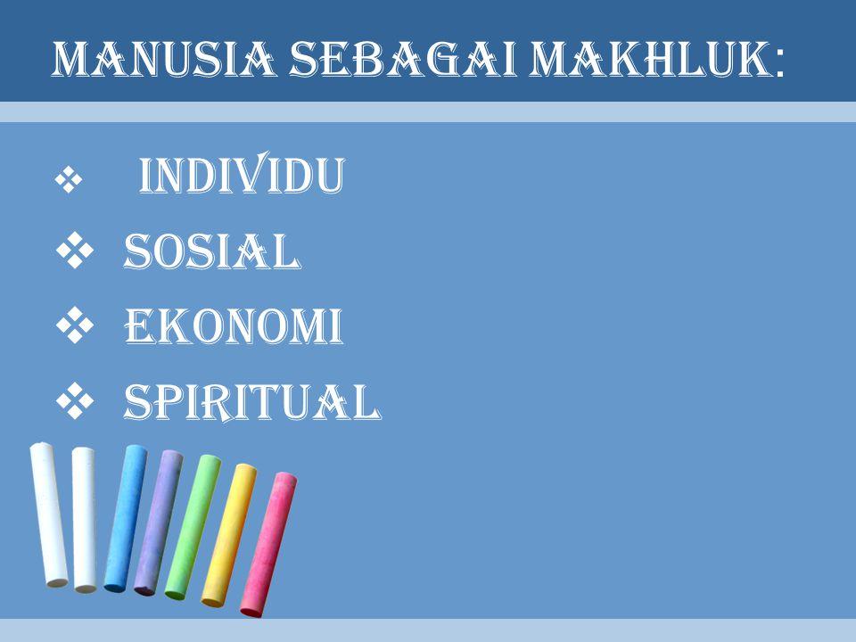 MANUSIA SEBAGAI MAKHLUK :  INDIVIDU  SOSIAL  EKONOMI  SPIRITUAL