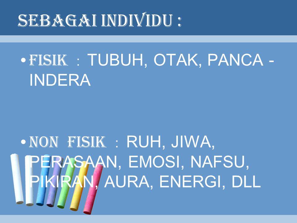SEBAGAI INDIVIDU : FISIK : TUBUH, OTAK, PANCA - INDERA NON FISIK : RUH, JIWA, PERASAAN, EMOSI, NAFSU, PIKIRAN, AURA, ENERGI, DLL
