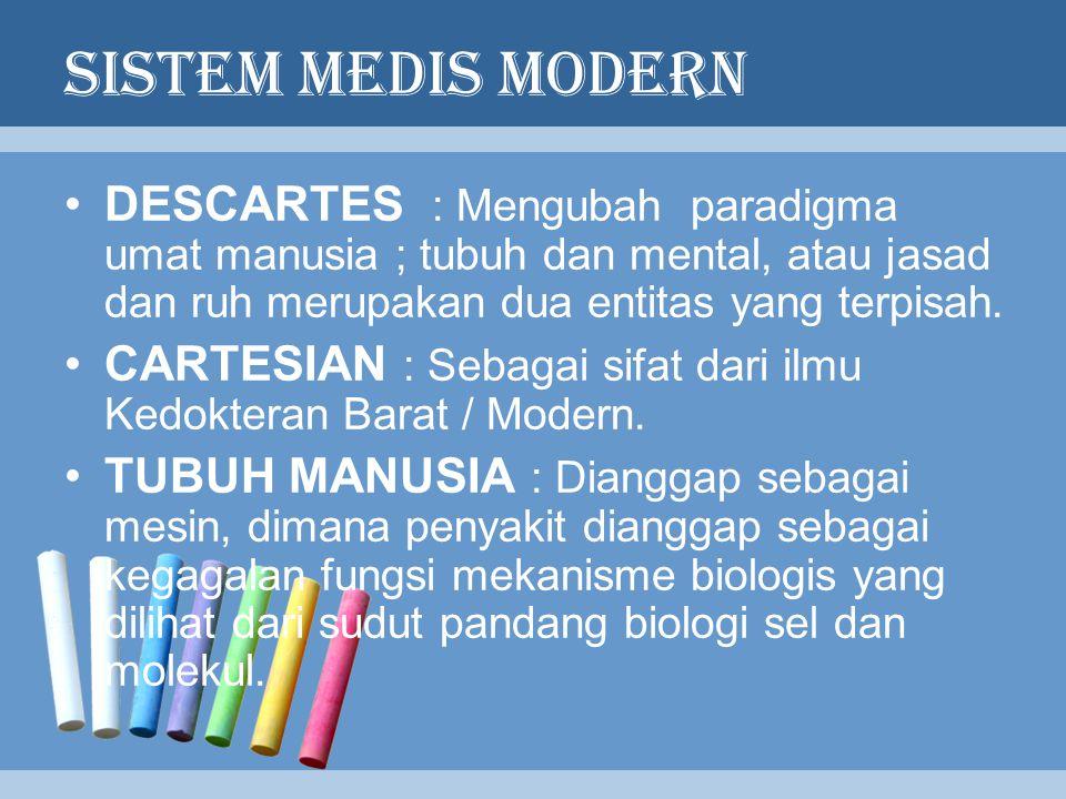 SISTEM MEDIS MODERN DESCARTES : Mengubah paradigma umat manusia ; tubuh dan mental, atau jasad dan ruh merupakan dua entitas yang terpisah. CARTESIAN