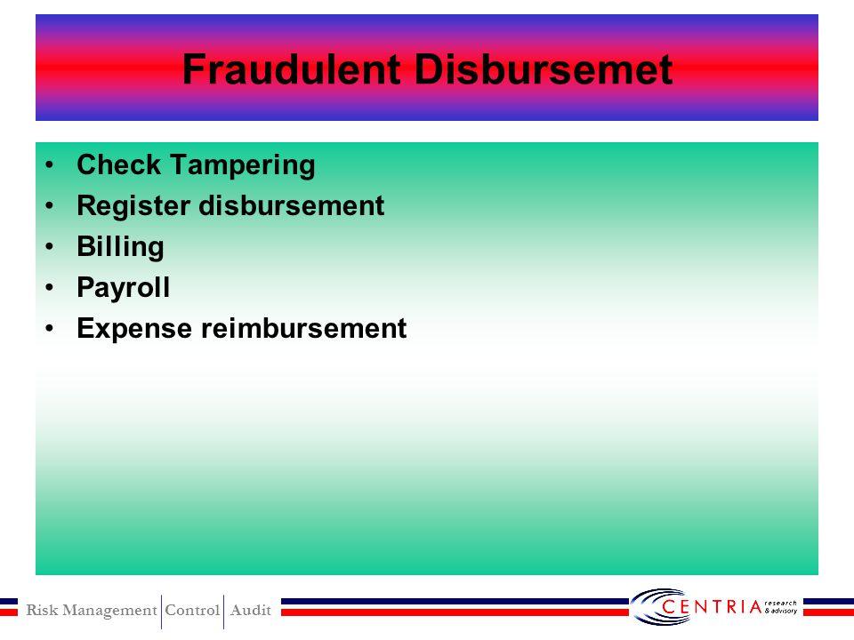 Risk Management Control Audit Cash larceny prevention Segregation of duties Assigment rotation and mandatory vacation Surprise cash count and procedur