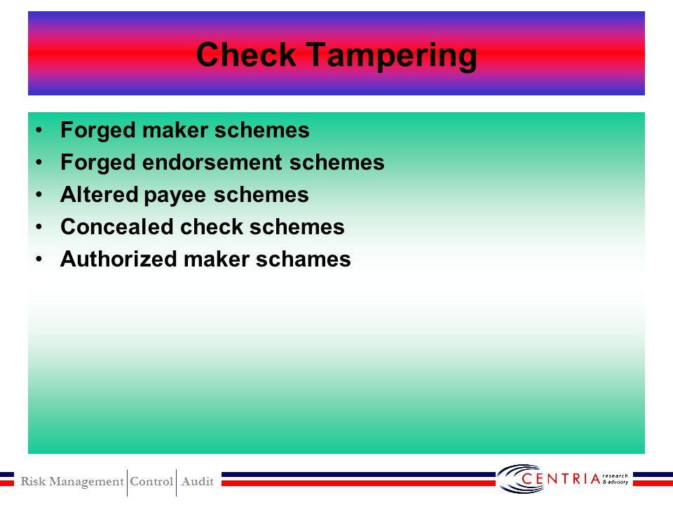 Risk Management Control Audit Fraudulent Disbursemet Check Tampering Register disbursement Billing Payroll Expense reimbursement