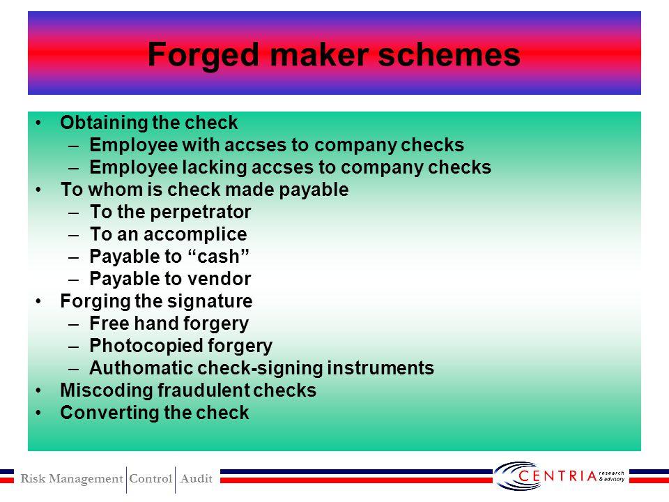 Risk Management Control Audit Check Tampering check Tampering Schemes