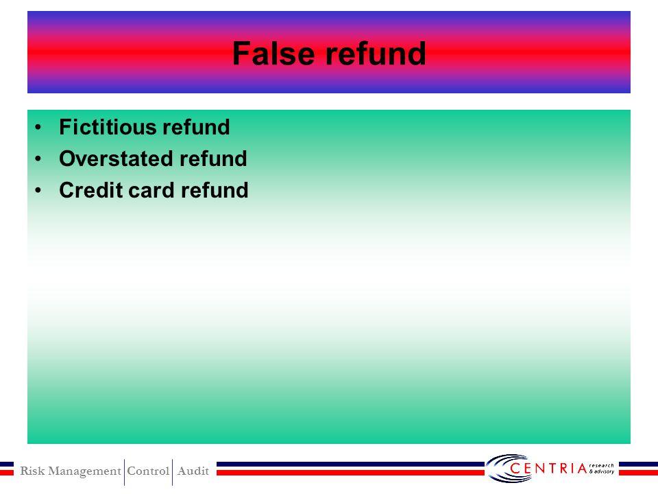 Risk Management Control Audit Register disbursement False refund False Voids