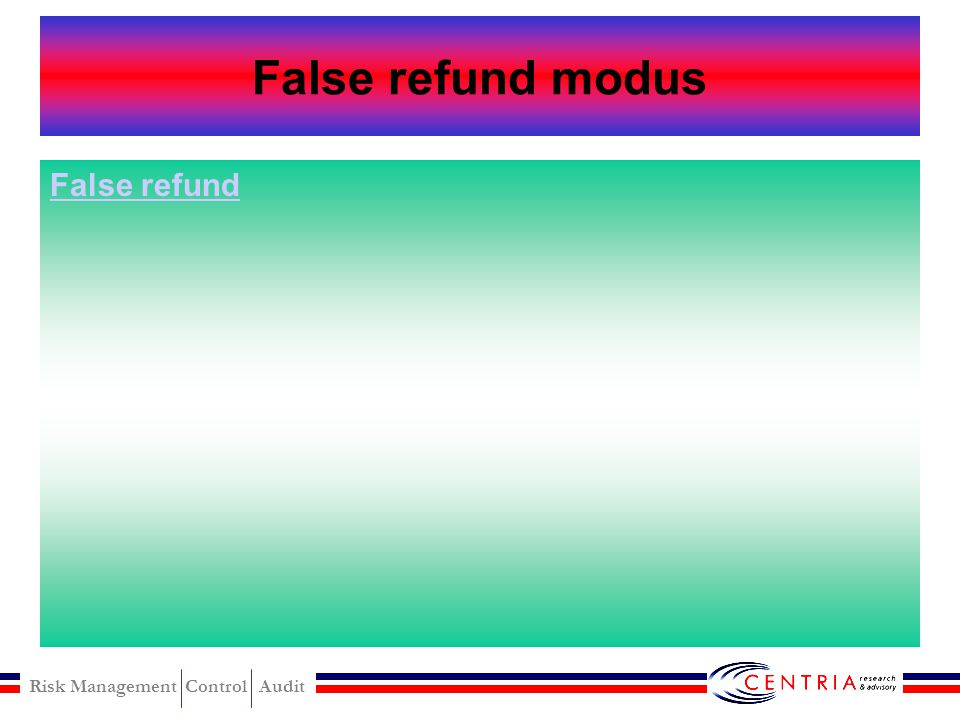 Risk Management Control Audit False refund Fictitious refund Overstated refund Credit card refund