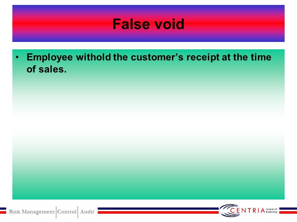 Risk Management Control Audit False refund modus False refund