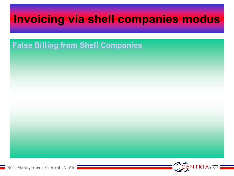 """Risk Management Control Audit Invoicing via shell companies Forming a shell company Submitting false invoices Self approval of fraudulent invoices """"Ru"""