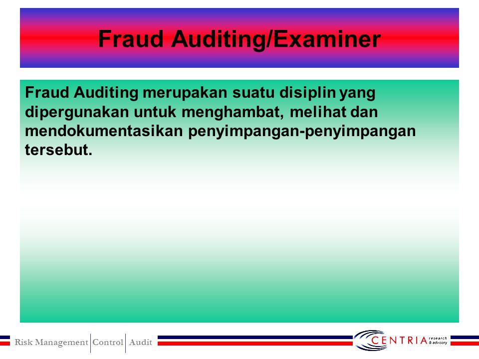 Risk Management Control Audit Financial Auditing Finansial Auditing adalah suatu proses dimana seorang yang kompeten dan independen mengumpulkan dan m