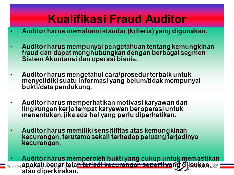 Risk Management Control Audit 13 Prinsip Fraud Auditing 1.Fraud Auditing lebih mengarah kepada pola pikir dari pada metodologi. 2.Fraud auditor fokus