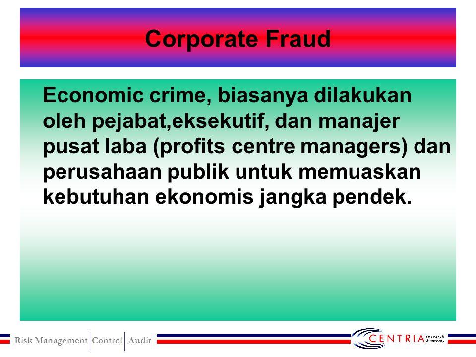 Risk Management Control Audit JENIS-JENIS FRAUD DARI SISI AKUNTANSI Corporate Fraud Audit Failure Fraudulent Financial Reporting