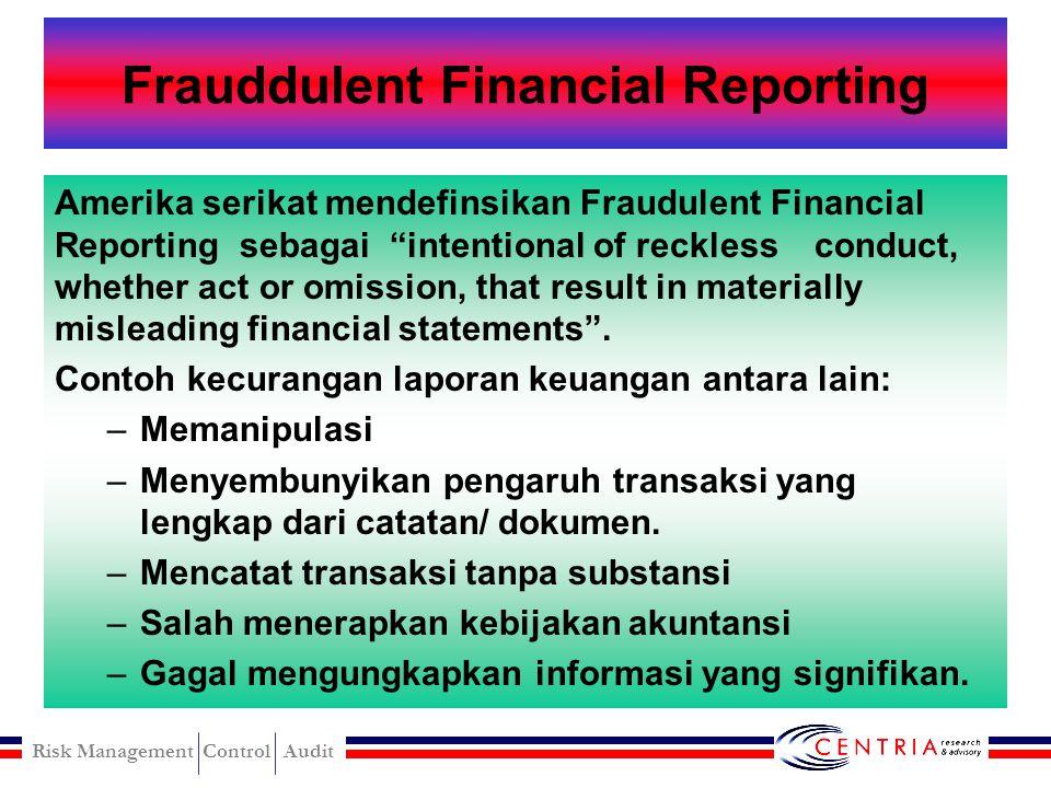 Risk Management Control Audit Audit Failure Suatu kegagalan audit merupakan risiko yang dihadapi oleh auditor berkaitan dengan kemungkinan pelaksanaan