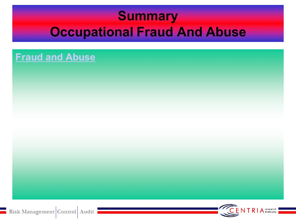 Risk Management Control Audit OCCUPATIONAL FRAUD AND ABUSE Corruption Asset Misappropriation Fraudulent Statement