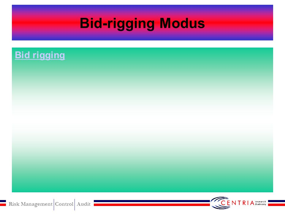 Risk Management Control Audit Bid-rigging Scheme Can be catagorized based on stage of bidding The pre-solicitation phase –Need recognition schemes –Sp