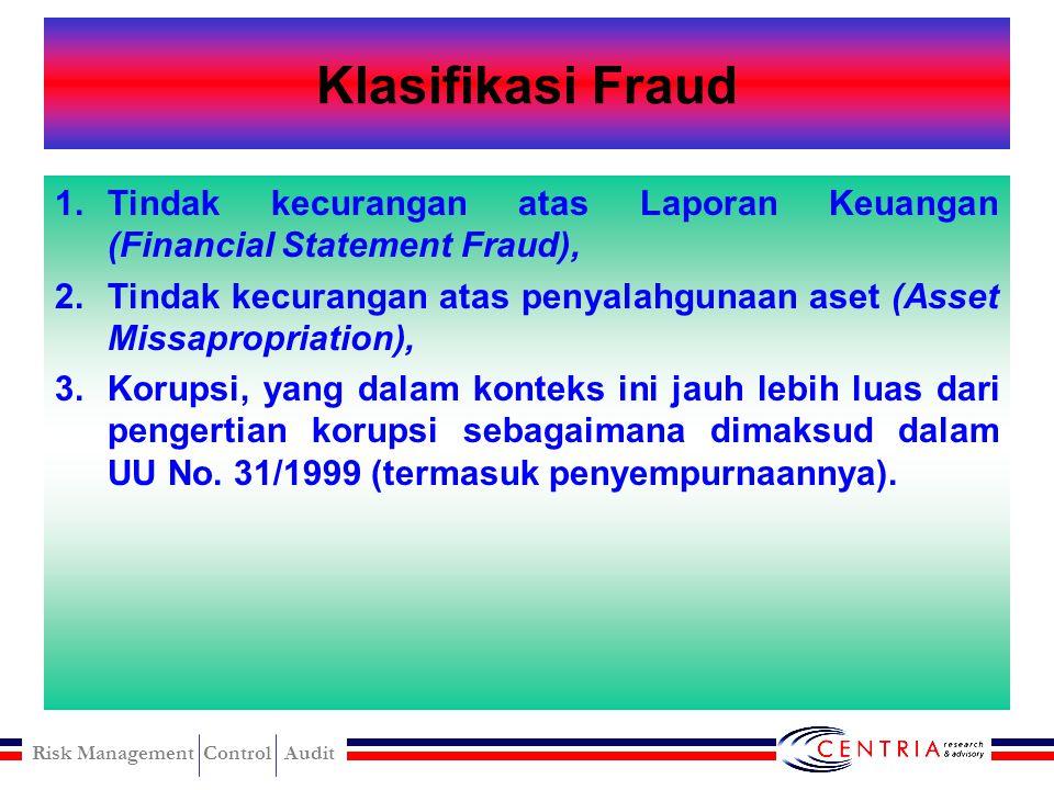 Risk Management Control Audit Unsur-unsur Fraud terdapat salah saji (misrepresentation) masa lampau (past) atau sekarang (present) fakta bersifat mate
