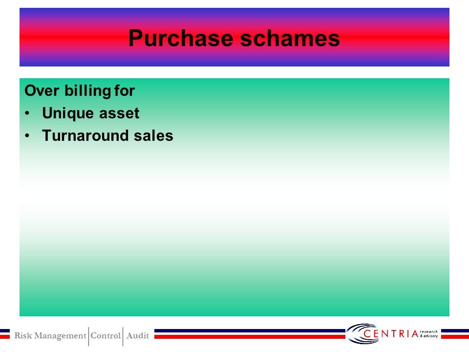 Risk Management Control Audit Conflicts of interst Purchase schames Sales schames Other schames
