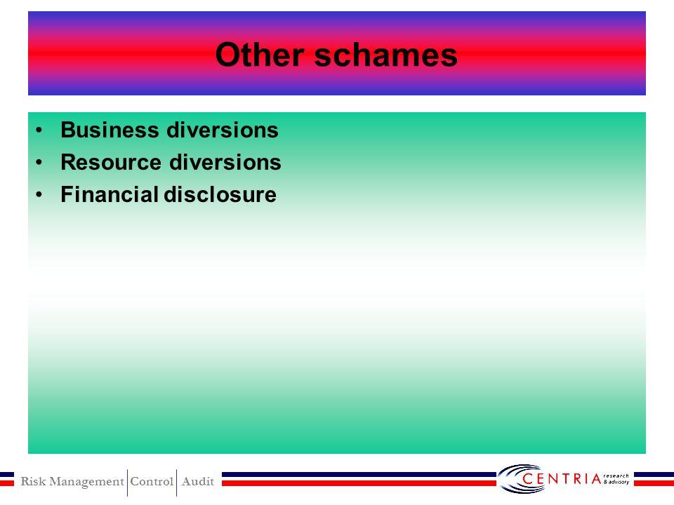 Risk Management Control Audit Sales schames Underbillings Writing off sales
