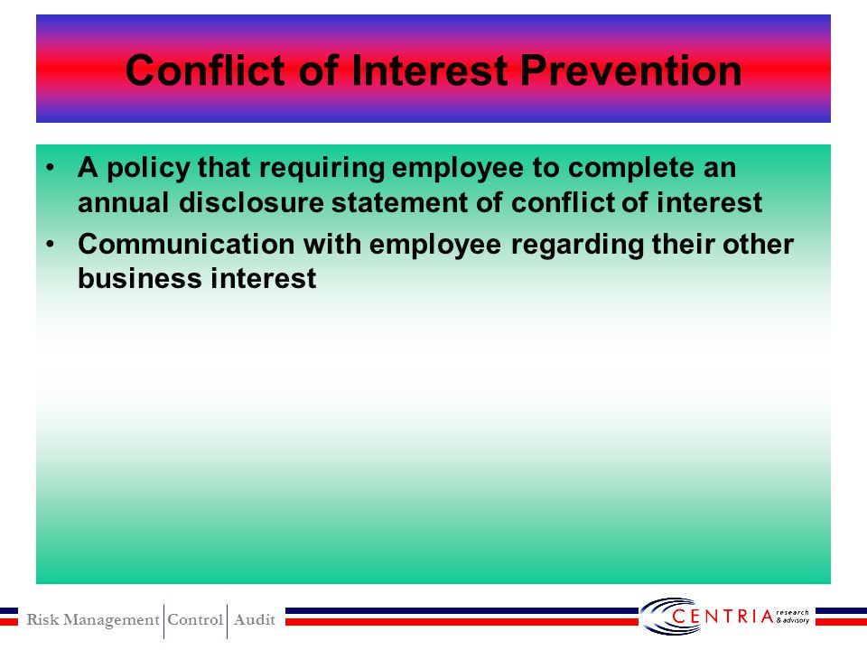 Risk Management Control Audit Conflict of Interest Detection Method can be use : Tips and complaints Comparison of vendor addresses with employee addr