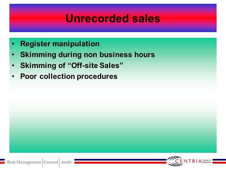 Risk Management Control Audit Skimming Schames Skimming scheme
