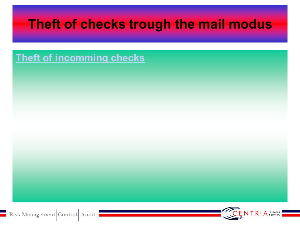 Risk Management Control Audit Theft of checks trough the mail Single employee is in charge of opening the mail and recording the receipt of payment Ta