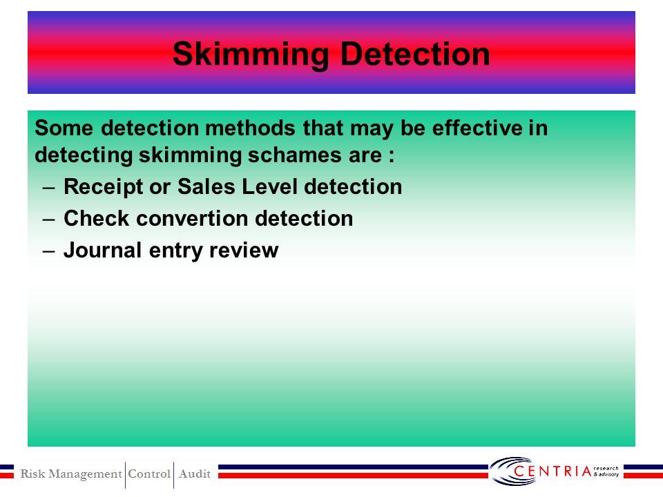 Risk Management Control Audit Shorterm skimming modus Short Term Skim