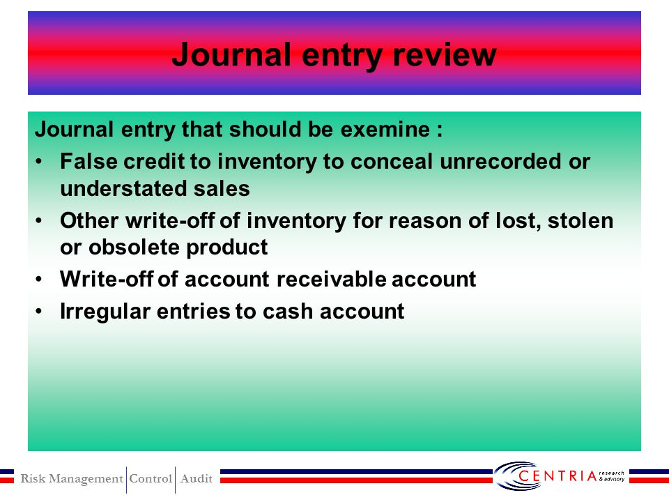 Risk Management Control Audit Check convertion detection Red flag arise when employee attempt to convert a stolen check. –Question of validity of the
