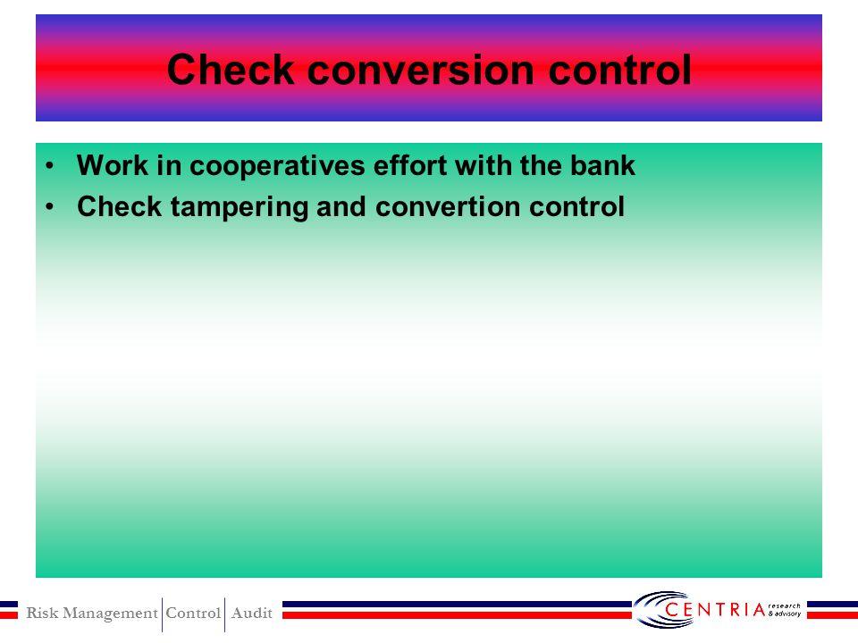 Risk Management Control Audit Received of sales level control Internal control procedures for received of sales Management communication to employee