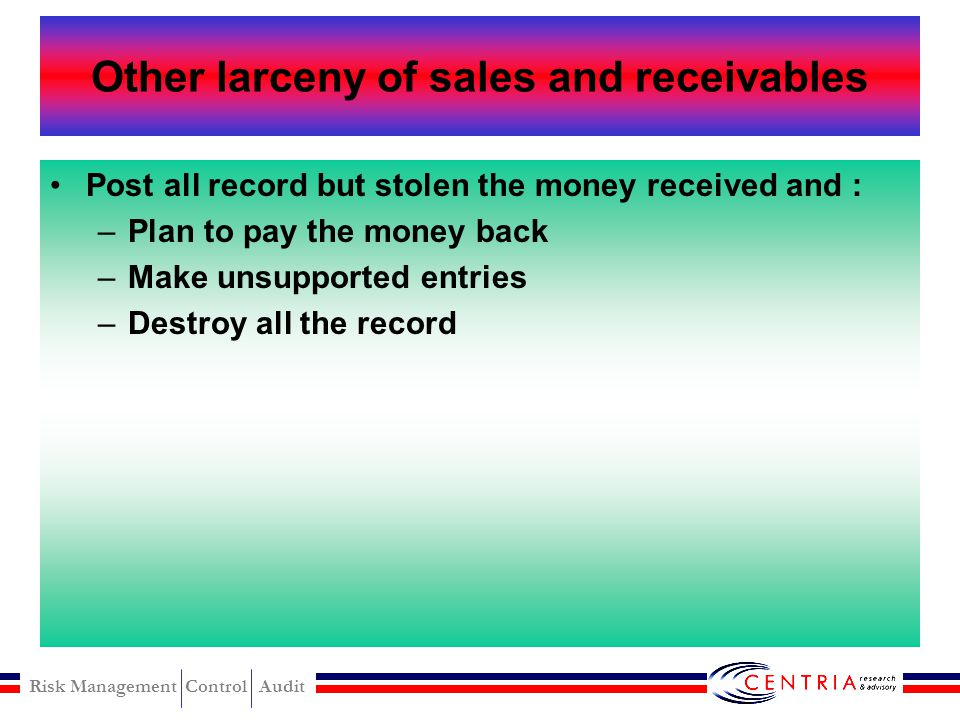 Risk Management Control Audit Theft of cash from the register modus Cash larceny from the register