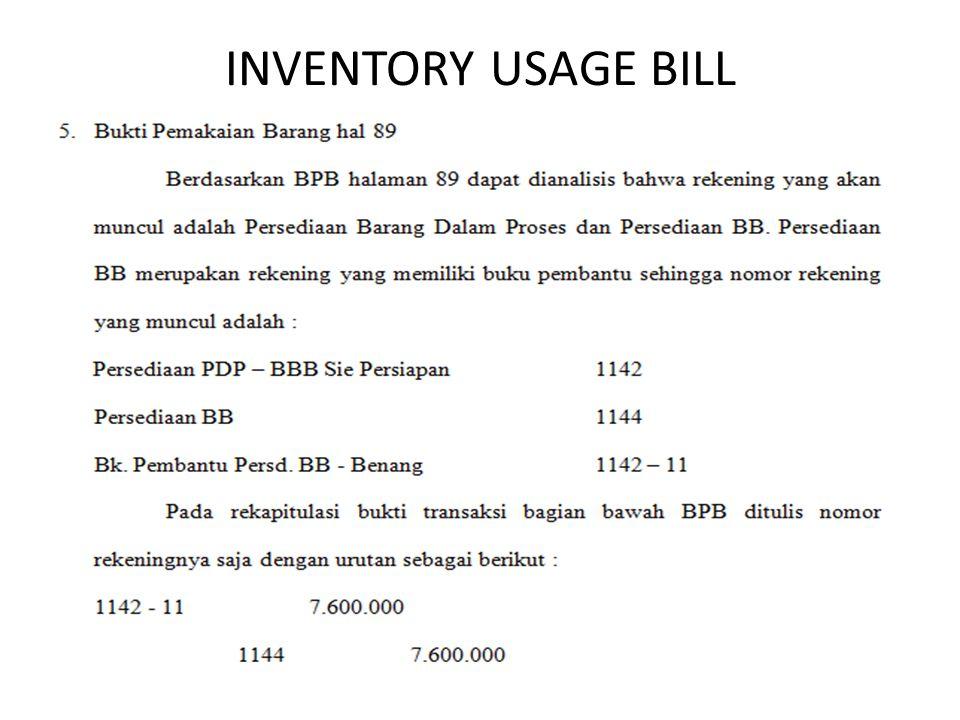 INVENTORY USAGE BILL
