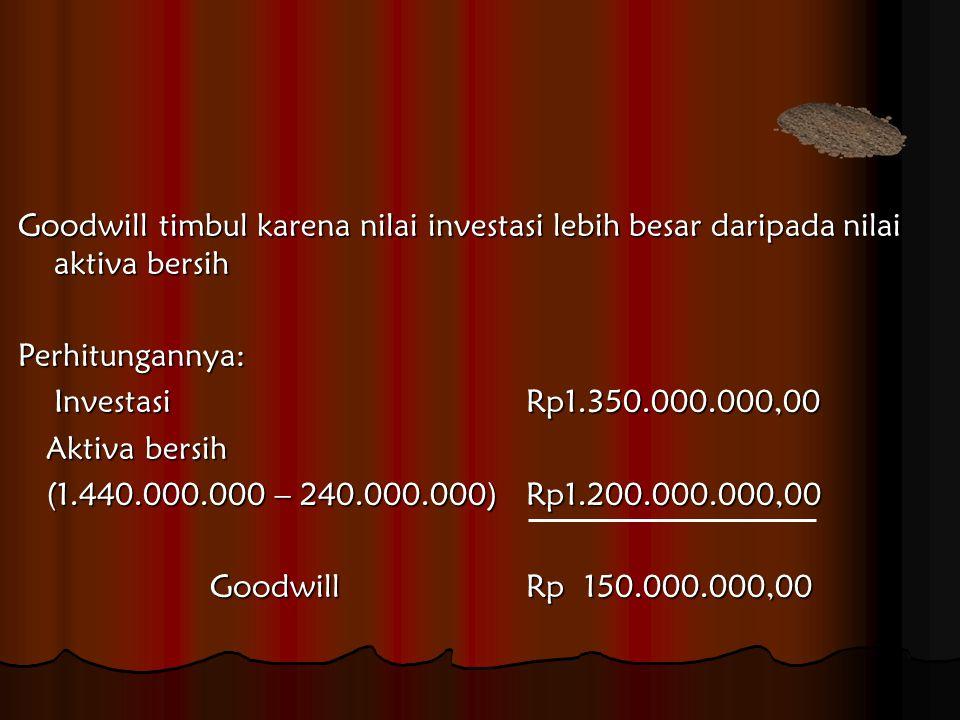 Jurnal Penerimaan Aktiva Bersih Kas Rp 50.000.000,00 Piutang 140.000.000,00 Persediaan 250.000.000,00 Tanah 100.000.000,00 Bangunan 500.000.000,00 Kendaraan 350.000.000,00 Hak Paten 50.000.000,00 Goodwill 150.000.000,00 Hutang Rp 240.000.000,00 Investasi pada PT ARFIE 1.350.000.000,00