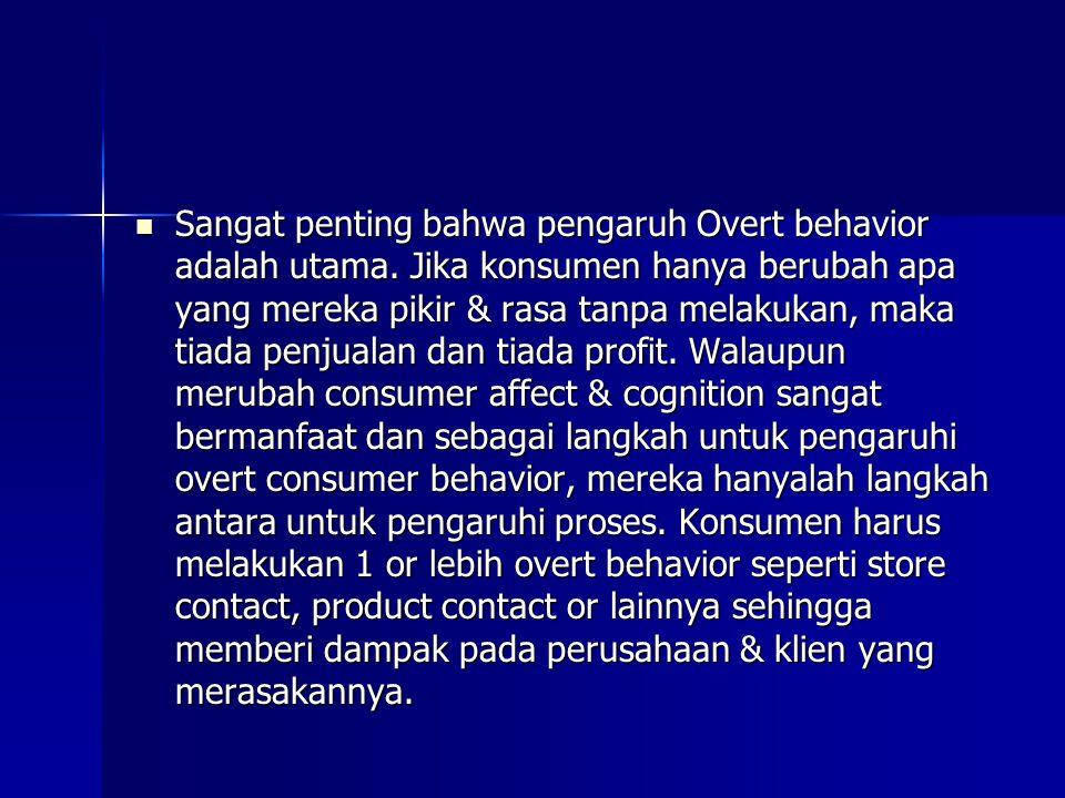 Sangat penting bahwa pengaruh Overt behavior adalah utama. Jika konsumen hanya berubah apa yang mereka pikir & rasa tanpa melakukan, maka tiada penjua