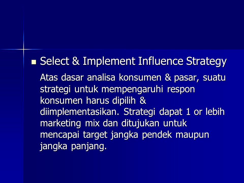 Select & Implement Influence Strategy Select & Implement Influence Strategy Atas dasar analisa konsumen & pasar, suatu strategi untuk mempengaruhi res