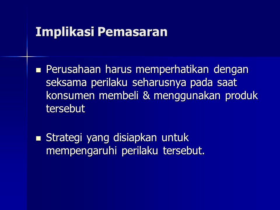 Implikasi Pemasaran Perusahaan harus memperhatikan dengan seksama perilaku seharusnya pada saat konsumen membeli & menggunakan produk tersebut Perusah